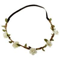 Wholesale Rubber Hair Pins - Wedding Accessories Hair Pins Bohemian Boho Hairwear Beige Crown Crystal Flower Wedding Tiara Women Wedding Head Band With Flowers
