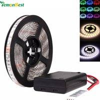 Wholesale 1m 3528 Smd - Battery Powered LED Strip 3528 SMD 50CM 1M 2M Warm White   Cool White   RGB Waterproof Flexible LED Strip String Light