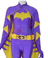 zentai catsuit movie al por mayor-(SUP923) Película personalizada El más nuevo Batgirl Púrpura Hembra Superhéroe spandex cuerpo completo batwoman zentai traje Disfraces de Halloween Disfraces