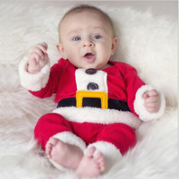Wholesale Cute Baby Suits For Boys - Infant Christmas Gift Cute Wear Christmas Santa Claus Fancy Dress Outfit Suit Costume Warm Saft Long Sleeve For Baby Boy Kids Clothing