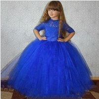 Wholesale 5t dresses sale for sale - Group buy Lovely Lace Royal Blue Flower Girl Dresses Princess Gowns Kids Removable Train Hot Sale Tulle Flower girl Dress Cute Modern