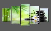 ingrosso quran trasporto libero-5 Pannelli Canvas Print Pietra SPA, Bamboo Photo Canvas Art allungato e incorniciato pronto da appendere per la decorazione domestica