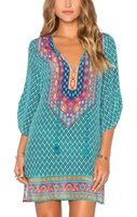 Wholesale Shift Dress Wholesale - Women Bohemian Neck Tie Vintage Printed Ethnic Style Summer Shift Dress