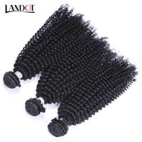 doğal afro örgü toptan satış-Moğol Sapıkça Kıvırcık Bakire Saç 3 Parça Işlenmemiş Moğol Kıvırcık İnsan Saç Dokuma Paketler Afro Kinky Kıvırcık Saç Doğal Renk Boyanabilir