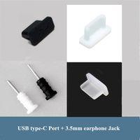 configuração do plug de pó venda por atacado-1000 Conjuntos Anti plugue poeira Stopper Set USB Tipo-C + Fone de Ouvido Jack 3.5mm Silicone para samsung galaxy s8 s8plus huawei LG LETV