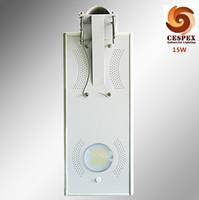 Wholesale Design Led Panel Light - IP65 LED lamp solar panel battery all in one 15w solar LED street light, integrated design solar led gardern light with motion sensor