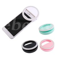 Wholesale Portable Camera Flash Light - Portable Universal Selfie Ring Flash Lamp Mobile Phone LED Fill Light Selfie Ring Flash Lighting Camera Photography For Iphone Samsung