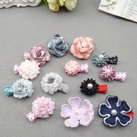 Wholesale Korean Beautiful Baby Girl - Korean Childrens Hair Accessories baby Girls pearl Fabric Flowers beautiful Hair Bows HairClips Hairpins kids BB Hair Things barrettes A204