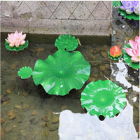 Wholesale Wholesale Plastic Ponds - Green Artificial Lotus Flower Leaf For pool Home Pond Fish Tank Lotus Leaves Leaf Decor Party garden Decorations 10CM