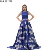 sexy abendkleider muster großhandel-Muster Satin Prom Kleider Königsblau Blume Gedruckt Lange Abendkleider Designer 2017 Neue Echt Kleider B007