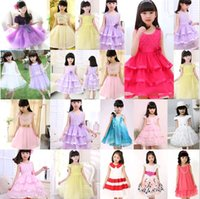 Wholesale Cheap Korean Clothes Free Shipping - Mixed Style Summer Korean Girls Princess Dress Tutu Baby Kids Clothing Many Designs for 2-9 Years old Cheap Free Shipping