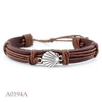 Wholesale Seaside Bracelets - ANTIQUE SILVER Seashell Conch CHARM Adjustable Leather Cuff Bracelets Seaside Ocean Friendship PUnk Casual Wristband Jewelry