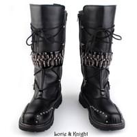 Wholesale Heavy Leather Straps - Wholesale-Mens Black Leather Motorcycle Boots Heavy Metal Rivet Combat Boots Punk Rock Martin Boots