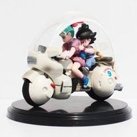 Wholesale Plastic Motorcycle Toys - Dragon Ball Z Son Goku Bulma Motorcycle PVC Action Figure Collectible Model Toy 8cm Retail Box Packaged Free Shipping