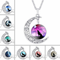 Wholesale Silver Mix Crystal Charms - Hot sale Breaking the Moon Time Gemstone Necklace Wolf Totem Retro Alloy Pendant WFN131 (with chain) mix order 20 pieces a lot