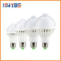 Wholesale Motion Sensor Led 12w - Motion Sensor IR Induction LED Bulb lamp 220V E27 5W 7W 9W 12W Smart LED Night light For Corridor Aisle Stairs Balcony lighting
