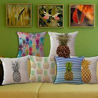Wholesale Cheap Colorful Weaves - 45*45cm Colorful Pineapple Ananas Decoration Tropical Decor Print Linen Cheap Sofa Car Cushion Cover Throw Pillow Case