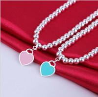 silberne knebelverschlüsse freies verschiffen großhandel-Sterling Silber blaue Emaille Herz-förmige runde Buddha Perlen Armband Frauen Ornament kostenloser Versand