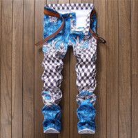 Wholesale Photos Paintings Free - 2017 Famous brand New Men's fashion photo frame print jeans Male European and American painted denim pants Trousers Free shipping