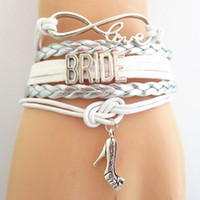 Wholesale Infinity Friendship Charm Bracelets - New design infinity love bridal bracelet white silver wedding party gifts bride jewelry bangle friendship charm bracelets
