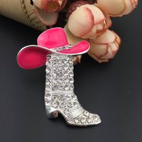 Lucky Western Cowboy Boots Brooch Pink Brown Hat Pin Charm Enamel Jewelry