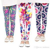 Wholesale Flower Print Leggings Girls - Baby Leggings Flower Printed Pants Girl Floral Butterfly Geometric Tights Kids Lovely Leggings Summer Trousers Spring Pants 19 Designs H171