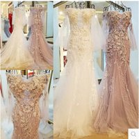 Wholesale 2017 Real Image Bateau Long Sexy Formal Elegant Evening Dress With Sleeves Sheath Lace Up Back Mermaid Luxury Party Prom Dress Appliques