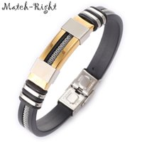 Wholesale match bracelet resale online - Match Right Men S Leather Bracelets Metal Bracelet Cuff For Men Stainless Steel Bracelets Bangles Men S Wristband Br016