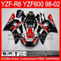 Wholesale 99 Yamaha R6 Fairings Black - 8Gifts 23Color For YAMAHA YZF600 YZF R6 YZFR6 98 99 00 01 02 54HM15 red black YZF 600 YZF-R600 YZF-R6 1998 1999 2000 2001 2002 Fairing kit