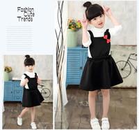 bebek kız kore kırmızı elbise toptan satış-DHL Ücretsiz 2017 Kore Lolita Tarzı Bebek Kız Tulum elbise Pembe Siyah Tatlı Ilmek elbise Mini Fare ile Kırmızı Ilmek Jartiyer