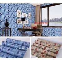 Wholesale Floor Tiles Wood - Wholesale- Self-adhesive Mosaic Wallpaper Tile Floor Kitchen Bathroom Waterproof Wall Sticker