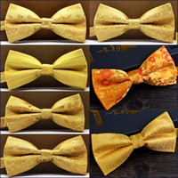 Wholesale Orange Stripe Men Bow Ties - Free Shipping Paisley Floral Solid Stripes Gold Yellow Mens Pre-tied Tuxedo Bow Tie 100% Silk Adjustable Wholesale Handmade Brand New