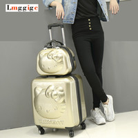 """Wholesale Travel Suitcase Children - 18""""inch Hello Kitty Suitcase Sets,Children Women's KT Luggage,High Quality ABS Trolley ,Lovely cartoon Travel case,Cosmetic Box"""