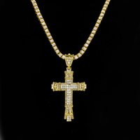 Wholesale Vintage Rhinestone Cross Necklace - Really Bling Iced Out Rhinestones Vintage Cross Pendant Necklace Gold Silver Color Hip hop Fashion Jewelry