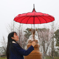 Wholesale Pongee Parasol - Tower Pagoda Rain Umbrella Classical Windproof Umbrella Stand Creative Style Design Women Large Long Gothic Handletop Rainproof Parasol