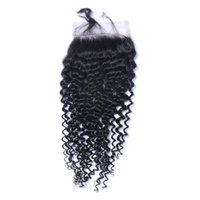 Wholesale Curly Silk Lace Closures - Curly Lace Closure Bleached Knots Brazilian Virgin Deep Curly Human Remy Hair Closure Free Middle 3 Part Silk Base 4*4 Lace Closure