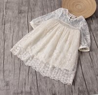 Wholesale Girl Dress Beige - Summer Fashion Baby Girl Dress Lace Flower Embroidery Long Sleeves Children Clothes Top quality For 1~7Y