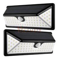 Wholesale Sensor Side - 3-Sides Lighting LED Solar Lamp 73 LEDs 730LM LED Motion Sensor Solar Lights Outdoor Waterproof LED Wall Light