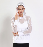 Wholesale White Yoga Outfits - Athletic Hooded Mesh Blouse Full Long Sleeve T-shirt Yoga Outfits Blouse Breathable Mesh Sexy Gymnasium Running Quick Drying Sportswear