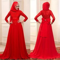 Wholesale simple wedding dress muslim woman - Red Muslim Wedding Dresses Full Sleeves with Wrap Red Bridal Formal Gowns Muslim Women Long Bridal Dress Vestidos Noiva