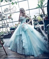 Wholesale Royal Icing Chocolate - 2017 Ice Blue Strapless Ball Gown Quinceanera Dresses Embroidery Tulle Floor-length Sweet 16 Dresses Vestidos De Quinceanera