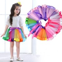 Wholesale rainbow chiffon clothes resale online - New Children Rainbow Tutu Dresses Kids Lace Princess Baby Girls Skirt Pettiskirt Ruffle Ballet Dancewear Skirt Holloween Clothing