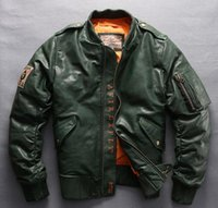 couro de beisebol genuíno venda por atacado-AVIREX VOAR jaqueta de couro ACES a1702 homens de pele de carneiro roupas de couro genuíno jaqueta De Beisebol uniforme 300g ganso para baixo YKK zíper