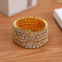 Wholesale New Fashion Crystal Stretch Bracelets - High Quality 5 Row Bridal Wedding Stretch Bangle Bracelet Big Crystal Rhinestone Spiral Wristband New Fashion Jewelry Accessories for Women