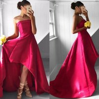 Wholesale High Low Dresses China - Modest 2017 Red Satin High Low Prom Dresses Cheap Strapless Short Front Long Back Formal Party Gowns Custom Made China EF70521