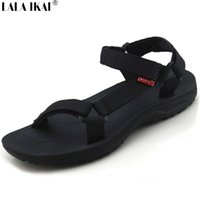 Wholesale Gladiator Style Sandals - Wholesale-Summer Sandals Men 2016 Buckle Black Flat Heel Leisure Mens Shoes British Style Gladiator Slip On Beach Sandals Men XMH0079-5