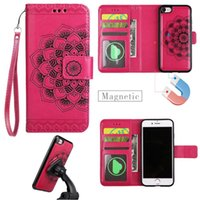 Wholesale Iphone Leather Case Car - For iphone 7 6 plus Wallet Leather with Strap Embossed Floral Retro Magnetic Detachable Car Holder Case Cover For iphone7 6s