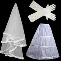 Wholesale Muslim Bridal Gloves - The Bride Wedding Dress Accessories Bridal Veil Hand Slip Three-Piece Combination With Veil, Bustle And Gloves