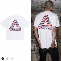 Crew Neck black cribs - men PALACE TRI CRIB T SHIRT Women Stripe Triangle Hip Hop Kanye West Fashion Cotton T Shirts Street Skateboards Tees Shirt casual Tops