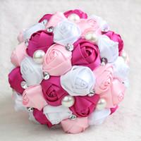 handmade flowers venda venda por atacado-2017 Hot Sale Bouquet De Casamento com Flores Artesanais Impressionantes De Cristal Artificial Acessórios Do Casamento Rose Flores De Noiva Bouquet
